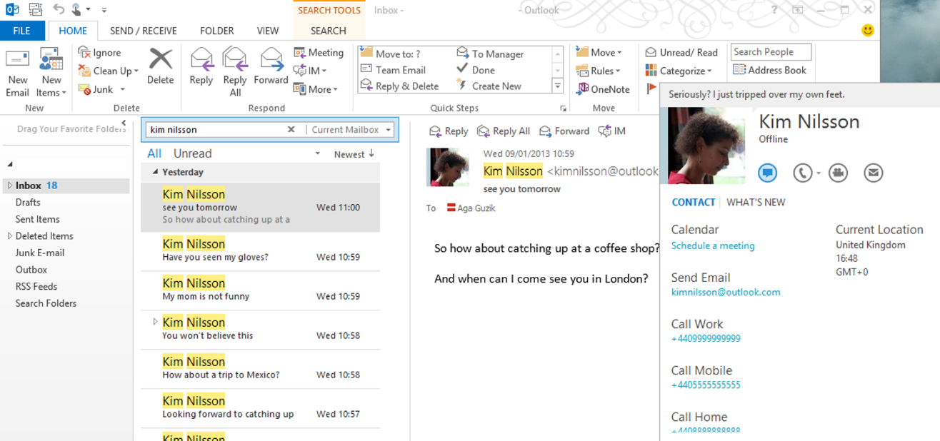 how to chat in outlook